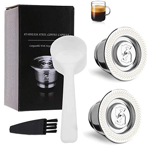 i Cafilas Nespresso Capsule in Acciaio INOX, nespresso capsule ricaricabili,2Tazze +1 Cucchiaio di Plastica +1 Spazzola