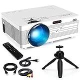 Merisny Mini Beamer mit Halterung, 3500 Lumen Tragbar LCD Video Projektor mit max 176