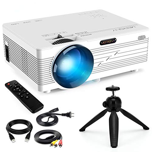 """Merisny Mini Beamer mit Halterung, 3500 Lumen Tragbar LCD Video Projektor mit max 176"""" Display, unterstützt 1080P Full HD,Kompatibel mit HDMI VGA USB AV TF für Smartphone Laptop"""