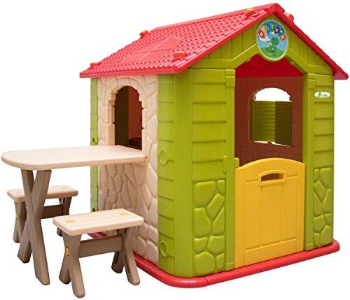 LittleTom Kinderspielhaus inkl Tisch mit 2 Bänken Spielhaus 104x118 cm Kinder-Gartenhaus für Drinnen Draußen Grün Beige