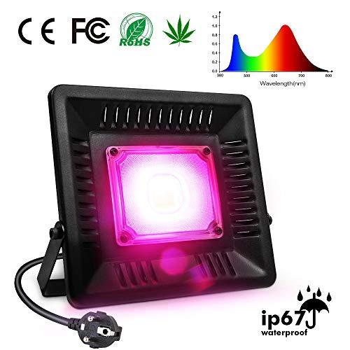 Pflanzenlampe Relassy COB Pflanzenlampe Vollspektrum Pflanzenlicht 50w mit 170cm Kabel und EU-Stecker, IP67 wasserdicht wachsen Lampe für Zimmerpflanzen, Gewächshaus, Hydrokultur (M-50)