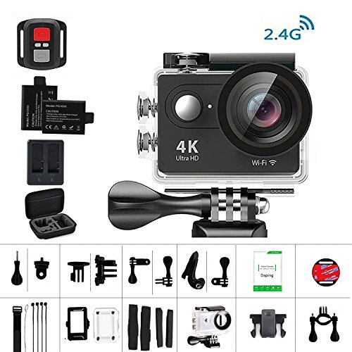 Daping 4K Action Cam Action Camera Full HD 1080P 12MP Sport Camera Impermeabile 170° Grandangolare 2.0 Pollici Due 1050mAh Batterie e Kit Accessori (2.4G Telecomando)