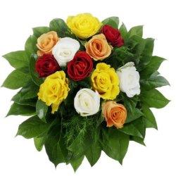 floristikvergleich.de Dominik Blumen und Pflanzen, Bunter Rosenstrauß mit 12 Rosen, 1Strauß