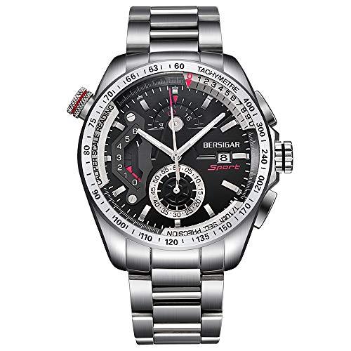 BERSIGAR BG-2492C Migliori orologi da uomo - Orologio da polso da uomo casual in acciaio inossidabile con quadrante nero impermeabile al quarzo