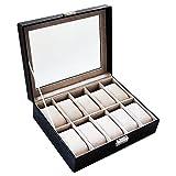 SANQIANWANG Watch Storage Case 10 Griglie PU Gioielli Display Box con Copertura in Vetro per Uomini