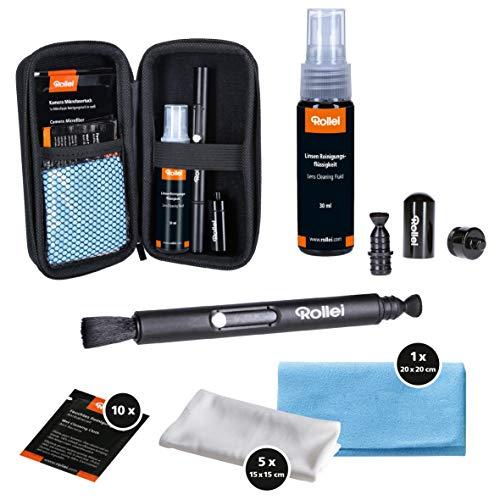 Kit di pulizia per macchina fotografica Rollei Pro | regalo per fotografi | set di pulizia con Lenspen, panni in microfibra, salviette umidificate e detergente liquido