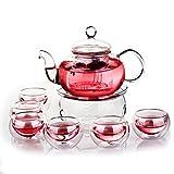 Green Buy, elegante teiera in vetro resistente al calore, con infusore + scalda-teiera + 6 tazze da tè a doppia parete trasparenti, 600 ml