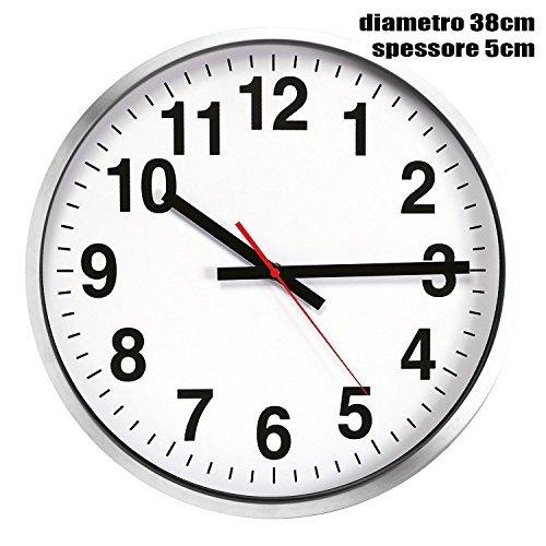 Grande orologio da muro parete maxi in alluminio diametro 38 cm