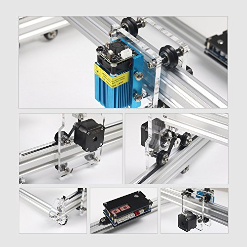 KKmoon 500mw Carving Machine DIY Kit,Desktop USB Laser Engraver Carver, Engraving Area 300mm x 380mm,0.5mm Accuracy Adjustable Laser Power Printer Carving & Cutting with Protective Glasses
