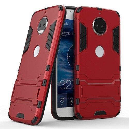 Funda para Motorola Moto G5s Plus (5,5 Pulgadas) 2 en 1 Híbrida Rugged Armor Case Choque Absorción Protección Dual Layer Bumper Carcasa con pata de Cabra (Rojo)
