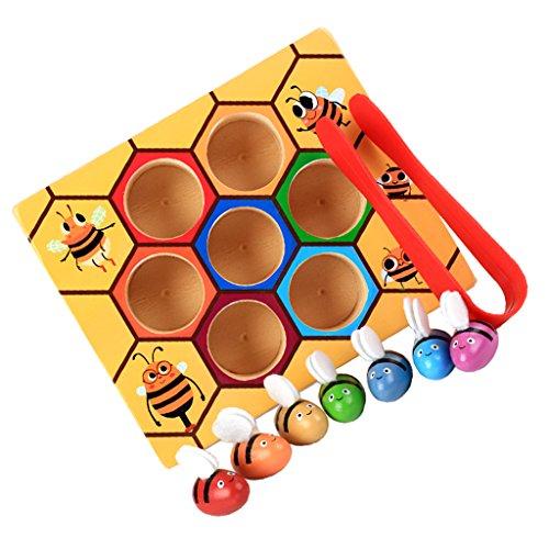 MagiDeal Set Di Scatola Clip Montessori Ape Giochi Bambini Educativi Legno Multicolore Regale