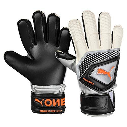 Puma One Protect 3 JR, Goalkeeper Gloves Unisex Adulto, Black-Silver White-Shocking Orange, 6