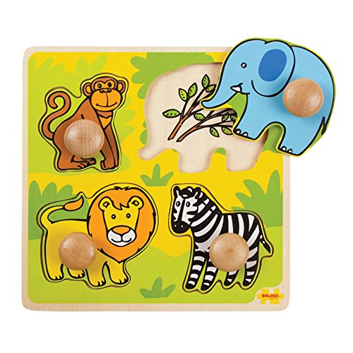 Bigjigs Toys My First Safari Wooden Peg Puzzle, Essential baby toys, toys for every developmental stage, baby toys, must have baby toys, the best toys for babies, gift ideas for babies, Christmas baby gift ideas, gifts for babies
