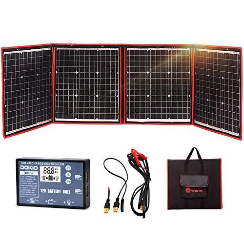 DOKIO Kit Panel Solar Plegable 150w 12v monocristalino portátil, plegable, imermeable,ideal para la energía solar al aire libre, embarcaciones, camping, caravanas o autocaravanas.para batería de 12 V