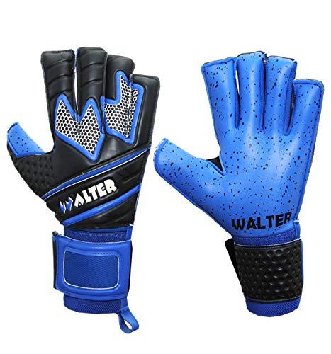 WALTER Guanti da Portiere Professionali Modello Lions (7, Azzurro)