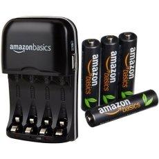 AmazonBasics - Cargador de pilas AA y AAA y pack de 4 pilas recargables AAA (500 ciclos, 850 mAh)