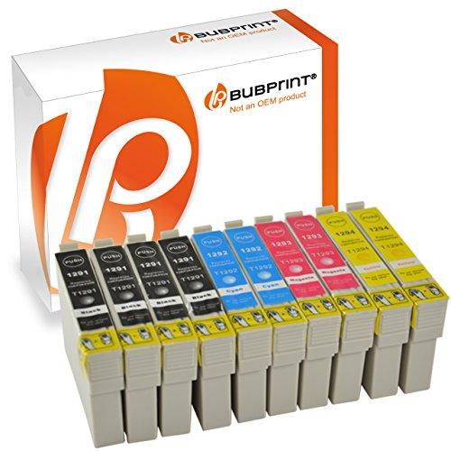 Bubprint 10 Druckerpatronen kompatibel für Epson T1291 T1292 T1293 T1294 für Stylus SX235W SX420W SX425W SX430W SX435W Office B42WD WorkForce WF-7515