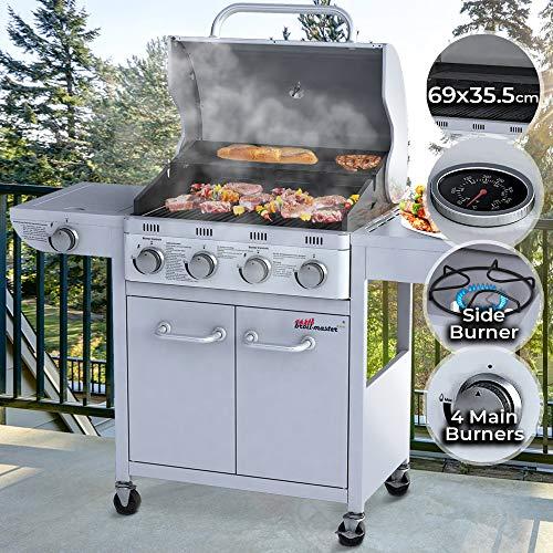 Barbecue a Gas | Griglia a 5 Bruciatori (4 + 1), in Acciaio, con Termometro e Ruote, 133,5/107,5/55...