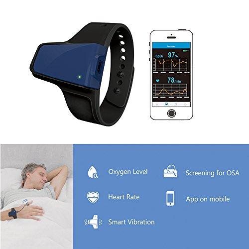 Lunasea sans fil apnée du sommeil Obstructives Aid tracker moniteur de fréquence cardiaque et SPO2Oxymètre de pouls Alarme 9