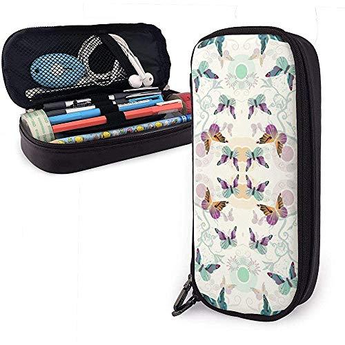 Patrón de mariposa Estuche de lápices de cuero de PU lindo 20X9X4cm Bolsas con cremallera doble Bolsa de lápices para oficina escolar Niñas Niños Adultos