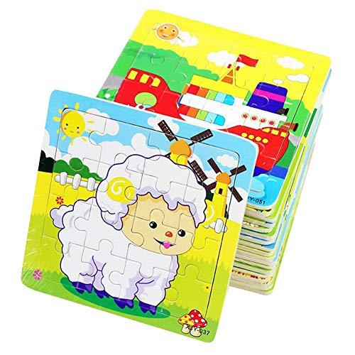 PROW Giocattoli in Legno 16 Pezzi Bambino Giocattolo Puzzle Elefante Panda Piccolo Agnello Nave...