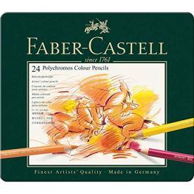 Faber-Castell 110024 - Estuche de metal con 24 lápices de colores polychromos, multicolor