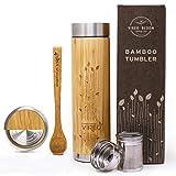 Vireo Bloom Botella Aislante Térmico con Colador de Té - Taza Térmica Taza de Bambú - Con...