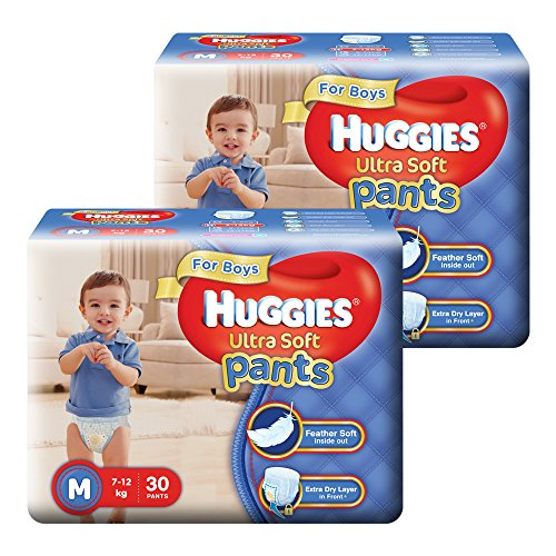 Huggies Ultra Soft Pants Diapers for Boys, Medium (2 X Pack of 30)