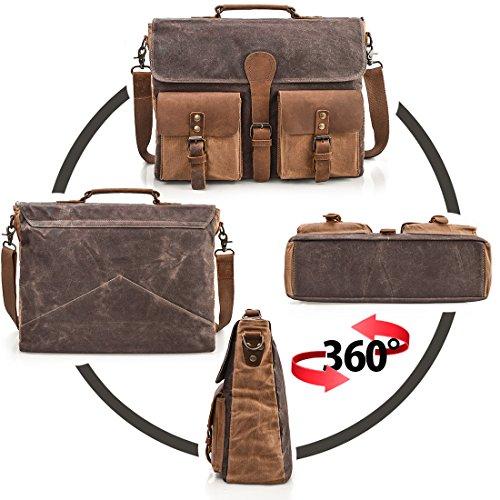 aa2cae2ee2 NEWHEY Mens Laptop Messenger Bag 15.6 inch Water Resistant Leather Shoulder  Bags Work Computer Briefcase Canvas Vintage Satchel Brown
