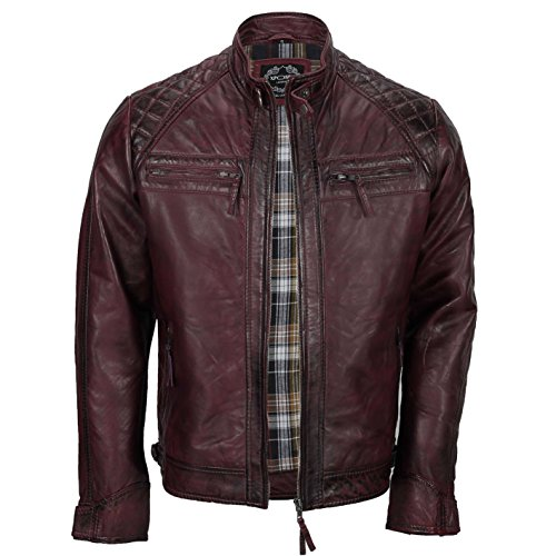 Xposed, giacca da uomo con cerniera, in vera pelle morbida, nera, vintage, alla moda, casual, stile motociclista Burgundy Medium
