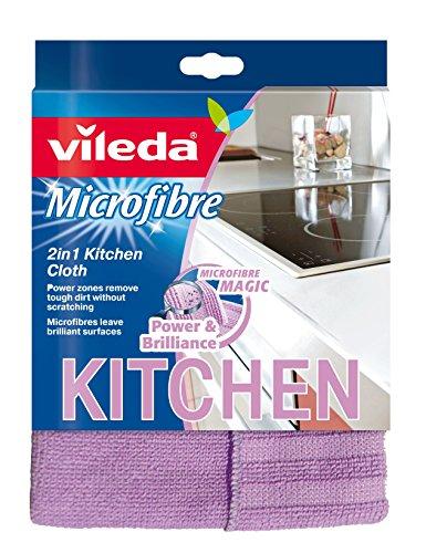 Vileda Microfibre Cucina, Panno per Cucina, in Microfibra, con Bande Abrasive di Nylon, Antigraffio,...