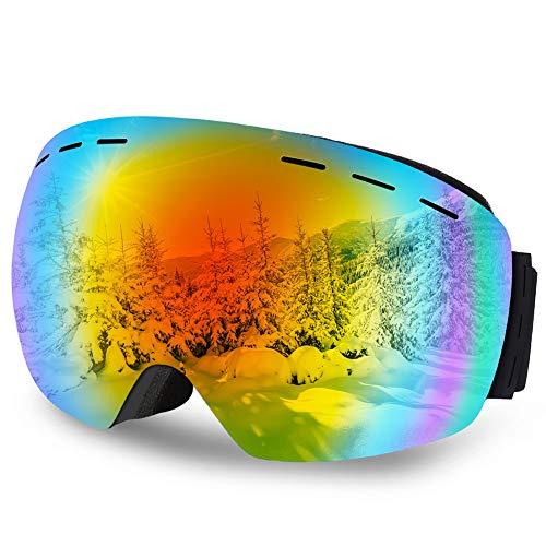 Skibrille,DIAOCARE Ski Snowboardbrillen Einstellbar Anti-Fog UV-Schutz Ski Snowboard Brille Wintersport Brille für Schneemobil, Skifahren Skaten,Wintersport im Freien Skibrillen mit Brillenetui (Rot)