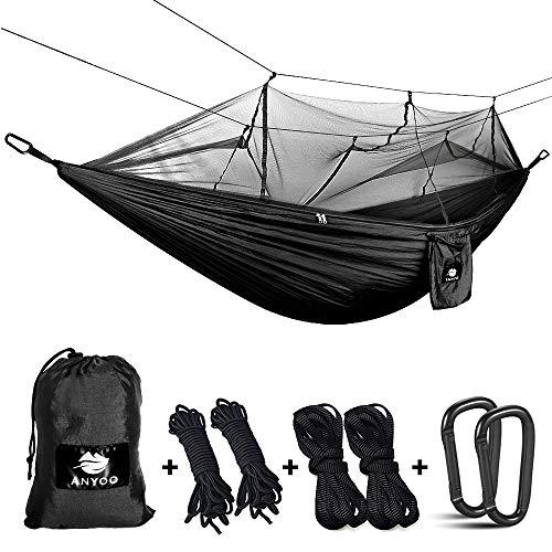 Anyoo Hamaca para Acampar con mosquitero Cama de Tela de Nylon de Paracaida Ligera Portatil para Viajar Excursionismo Mochilero de Viaje Cuerdas y Mosquetones Incluidos
