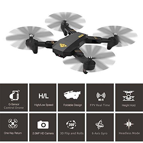 RC Quadcopter, Togather XS809W RC pieghevole Drone 2.4G 6 assi Gyro WIFI FPV Quadcopter con...