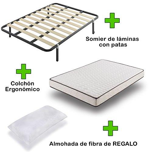 Due-home Pack Colchón eco18 + somier Basic con Patas + Almohada de Regalo 90x190