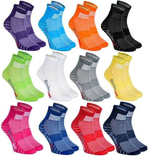 Rainbow Socks 12 pares de Calcetines Modernos, Originales y Deportivos en 12 Colores de moda. Se fabrican en la UE! Tamaños 42 43 Ideal para que el pie Respire! La Calidad Superior! Oeko-Tex!