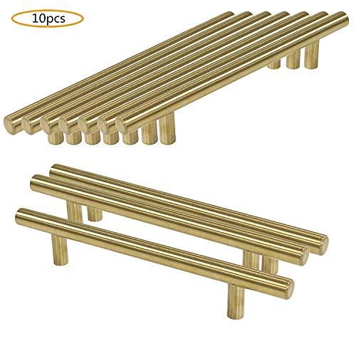 WOMAO 10 pezzi in acciaio inox spazzolato oro decorativo antiruggine mobili pomelli per armadio,...
