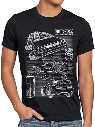 style3 DMC-12 Cianografia T-shirt da uomo ritorno futuro, Dimensione:L;Colore:Nero