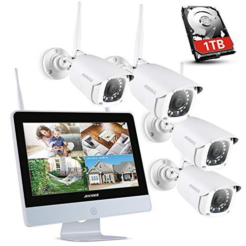 ANNKE Kit di Sorveglianza Videosorveglianza Wifi con Monitor LCD da 12 pollici Sistema di Videosorveglianza 4CH 1080P Plug e Play Salvaschermo Automatico Visione Notturna Accesso Remoto 1TB HDD