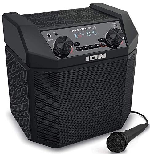 ION Audio Tailgater Plus - Altavoz Bluetooth Portátil, Sistema de reproducción Wireless de 50 W con Easy-Pair, Batería Recargable Incorporada, Radio AM/FM y Micrófono de Calidad Incluido