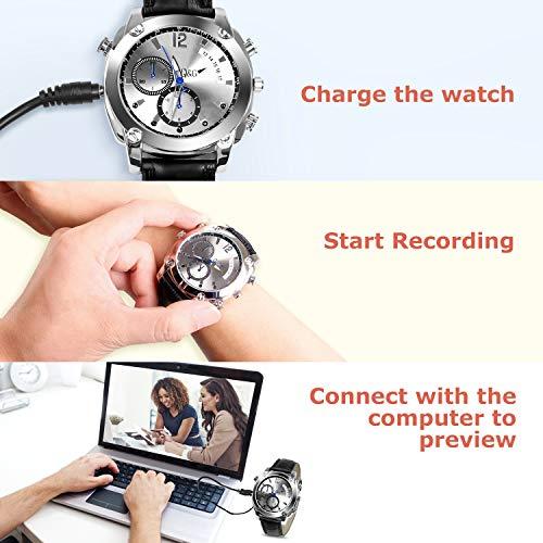 Caméra Espion,LYLINKTECH HD 1080p Montre Espion avec Caméra Cachée De 16 Go avec Fonction Imperméable Et Vision Nocturne 10