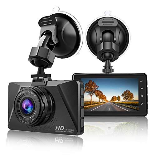 【2019 Nuova Versione】 CHORTAU Telecamera per Auto 1080P Full HD, Dashcam Schermo da 3 Pollici 170° Grandangolare con registrazione ad anello, Monitor di Parcheggio, Rilevamento Movimento, G-Sensor