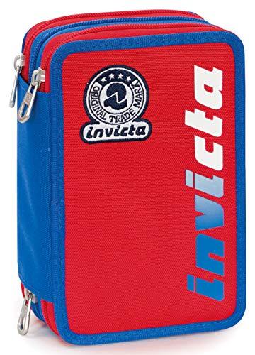 Astuccio 3 Zip Invicta Kupang, Rosso, Con materiale scolastico: 18 pennarelli Giotto Turbo Color, 18...