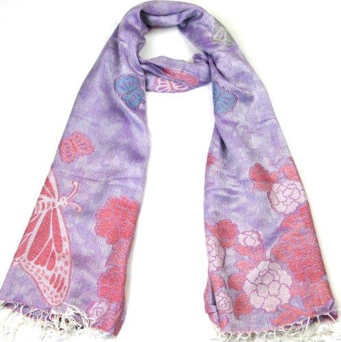 LOVARZI Pashmina bufanda chal morado - mariposa femenina invierno pañuelos - hermosa bufandas damas