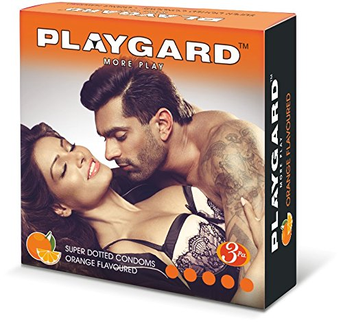 Playgard More Play Superdotted Condoms - 3 Count (Pack of 10, Orange)
