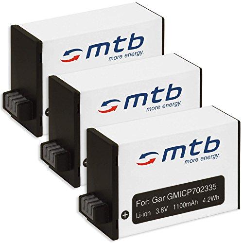3x Batteria per Garmin Virb 360 Action Cam [1100 mAh - 3.8V - Li-Ion]
