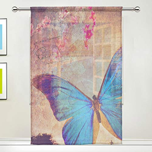 BIGJOKE Cortina Transparente para Ventana, diseño de pájaros, Mariposas, para Cocina, Sala de Estar, Dormitorio, Oficina, Cortina de Gasa, 1 Pieza, 55x78 Inches