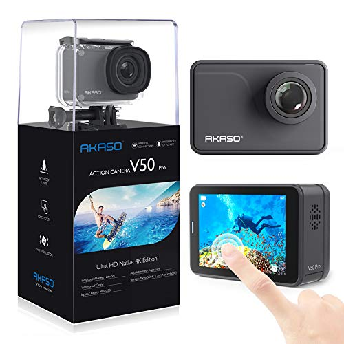 AKASO Native 4K 20MP WiFi Action Camera,Touch Screen,Garanzia di 12 Mesi, Angolo Variabile Telecomando con Batterie 1100mAh x2, Videocamera Fotocamera Sommergibile 30m (V50 PRO)