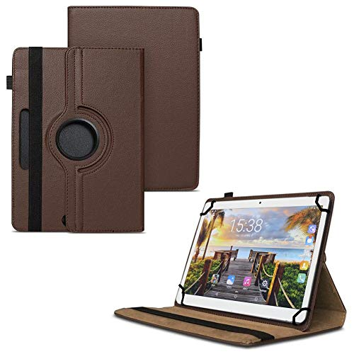 TGK 360 Degree Rotating Universal 3 Camera Hole Leather Stand Case Cover for Fusion5 105D 9.6 inch Tablet - Brown