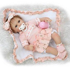 iCradle 17 Pulgadas 43cm Muñecas Reborn Silicona Realista Suave de Vinilo Lifelike Bebé Reborn Niña Nacido Regalo de Juguete (Blue Eyes)